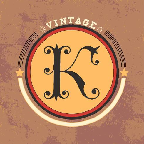 K Vintage Logo Design Vektor