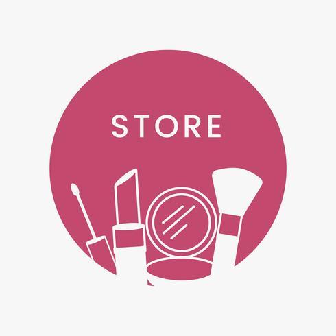 Rosa Schönheitsspeicher-Logo-Kosmetikvektor