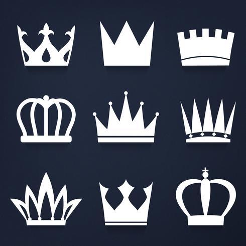 Set av kungliga kronor vektor