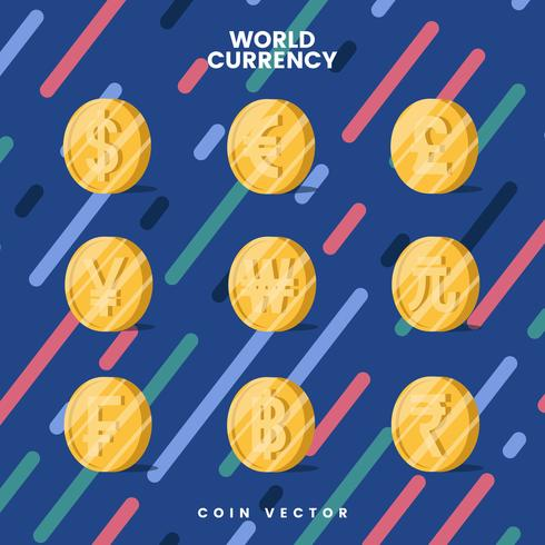 Vector de símbolo de dinero de moneda mundial