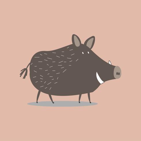 Gullig vildsvin tecknad illustration
