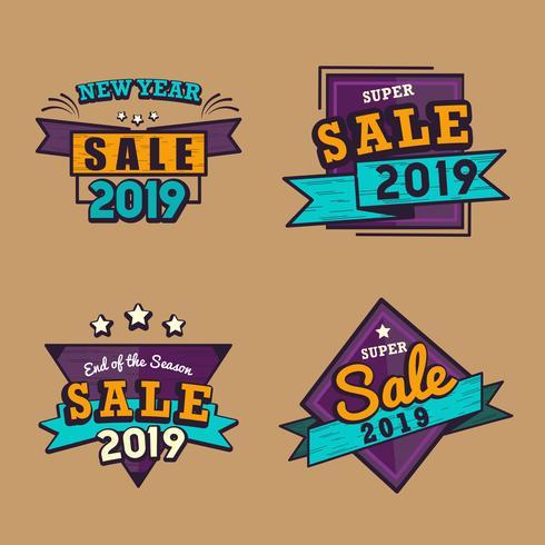 2019 Nieuwjaar vector badge set