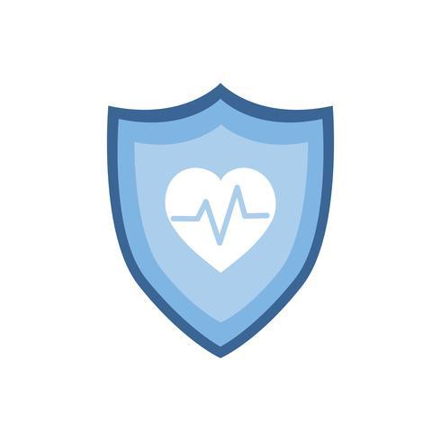 Heartbeat-symbool op blauw grafisch schildpictogram