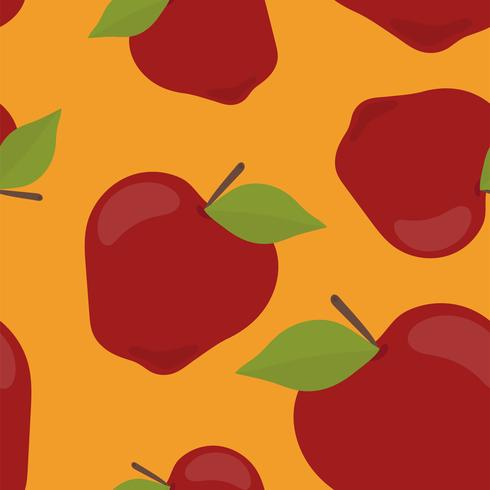 Padrão de maçã desenhada mão colorido