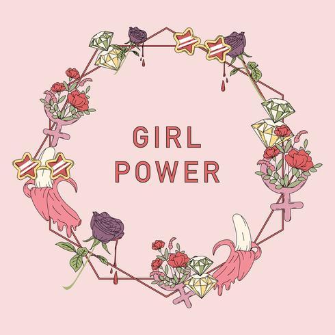 Girl power flower frame vector