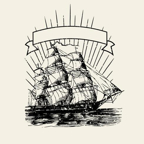 Old ship logo illustration