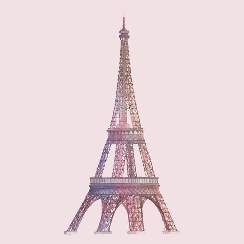 The Eiffel Tower in France watercolor illustration