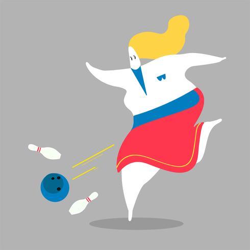 Karakterillustratie van een vrouw het spelen kegelen