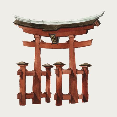 Japansk Torii port vattenfärg illustration