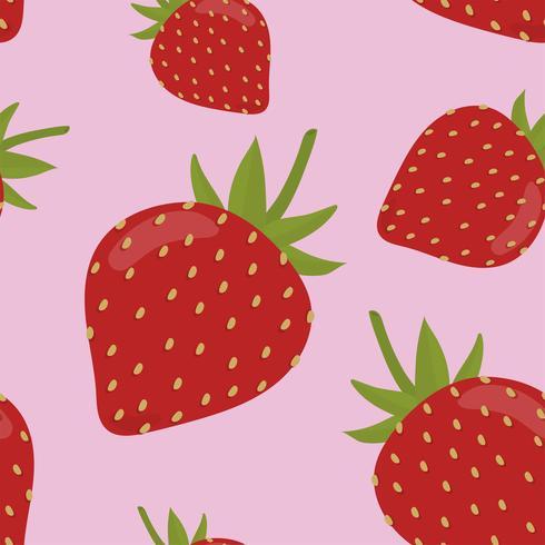 Motif fraise dessiné main coloré