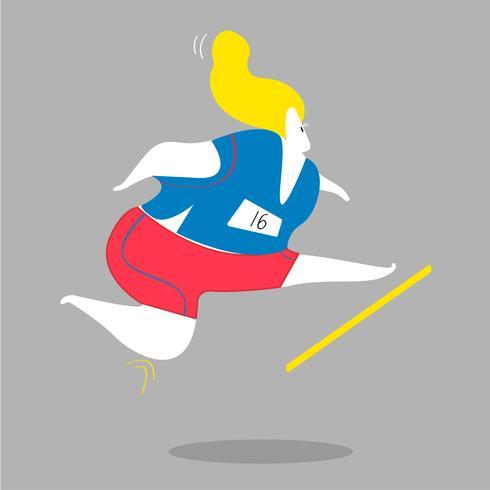 Personnage féminin en cours d'exécution et saut d'obstacles illustration