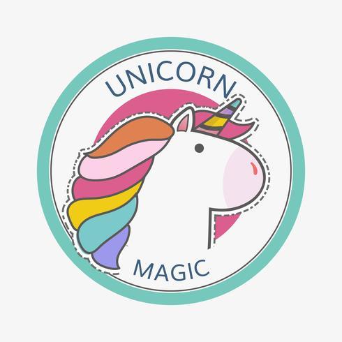 round unicorn magic badge vector