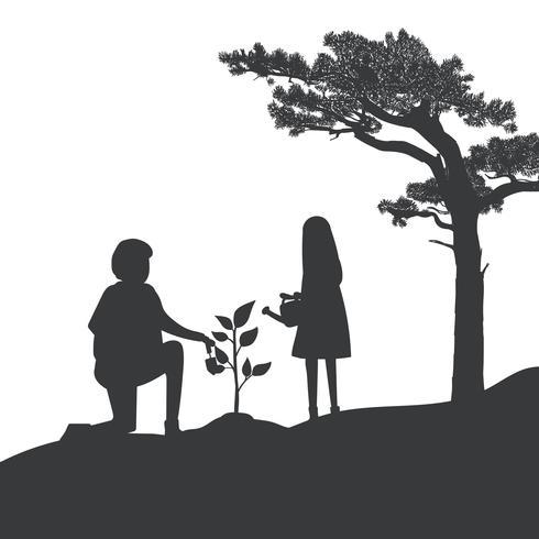 Silhouet van vader en dochter tuinieren vector