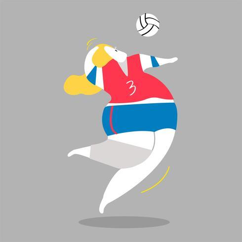 Karaktär illustration av en volleyboll spelare