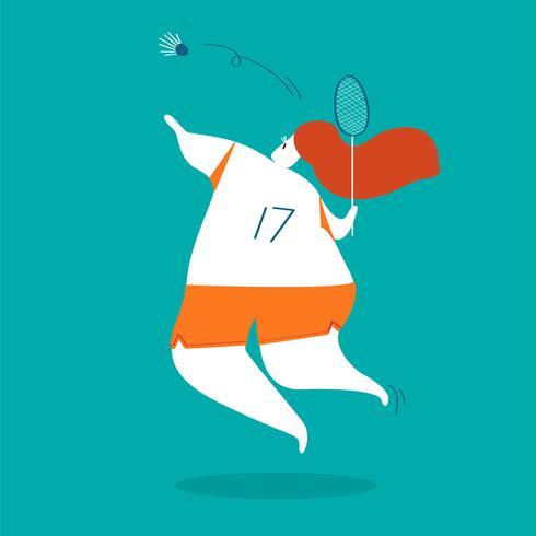 Charakterabbildung eines weiblichen Badmintonspielers