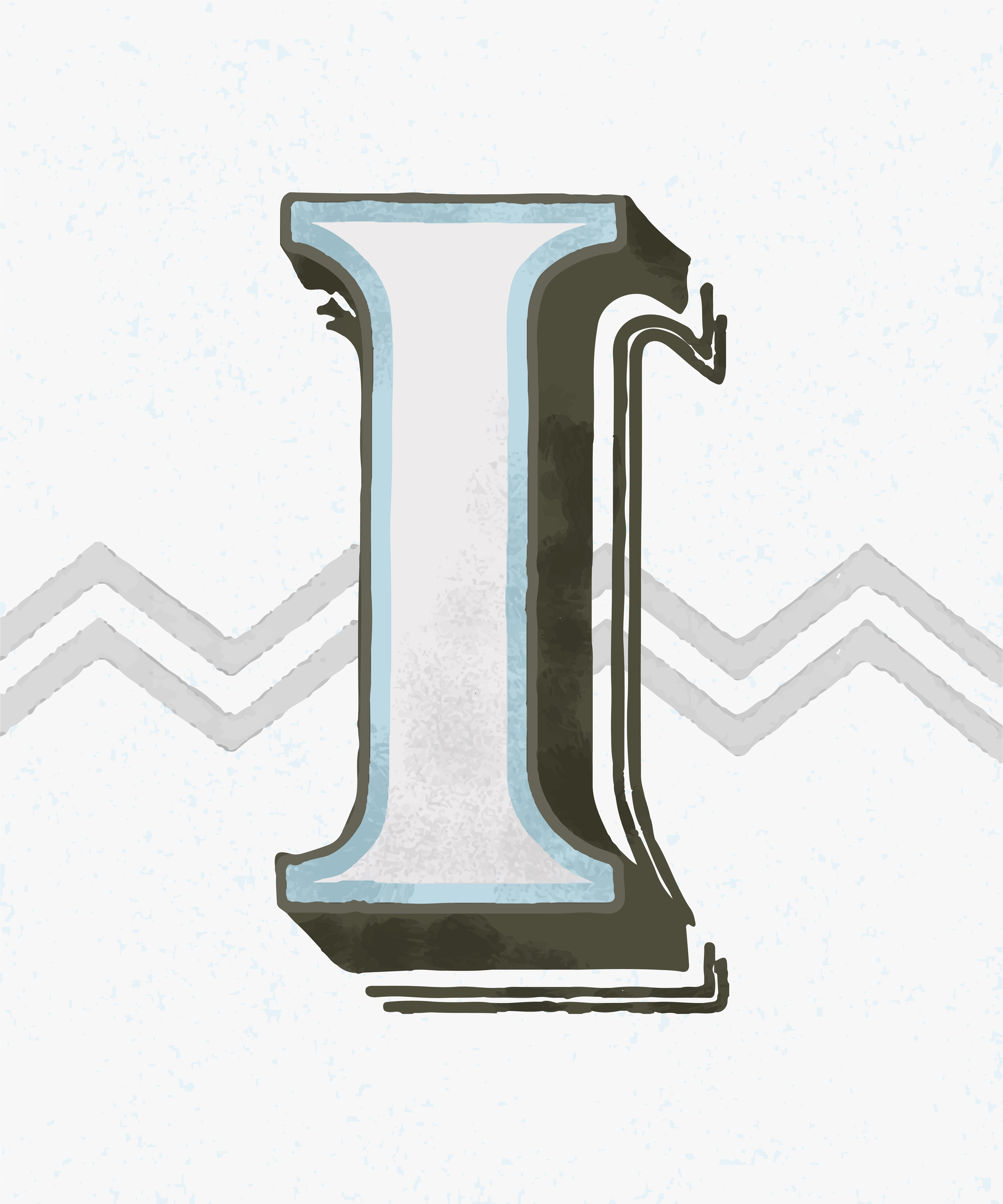 Capital letter I vintage typography style - Download Free