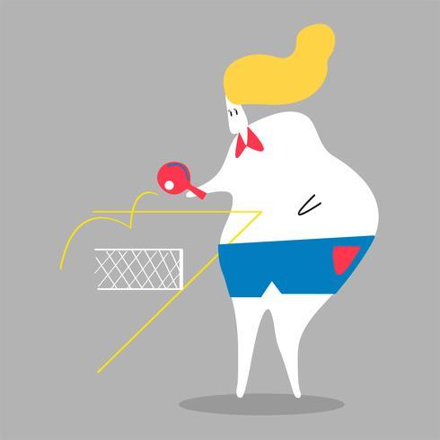 Karakterillustratie van een vrouw het spelen pingpong
