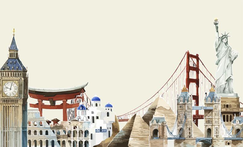 Inzameling van architecturale oriëntatiepunten rond de illustratie van de wereldwaterverf