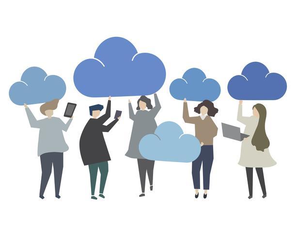 Data storage cloud computing concept illustration