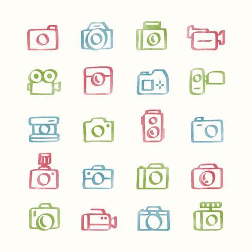 Conjunto de ilustración de iconos de cámara
