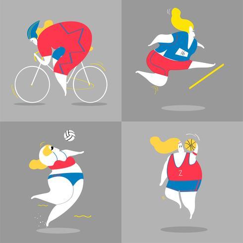 Ilustración de personajes de deportistas.