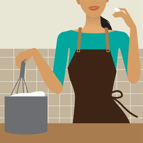 Donna che cucina nell'illustrazione della cucina