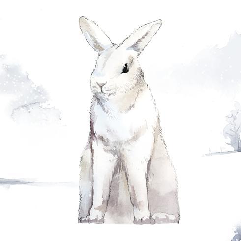 Coelho branco selvagem em um país das maravilhas do inverno pintado pelo vetor de aquarela