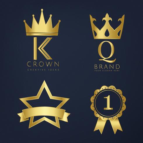 Set di vettori di logo dorato