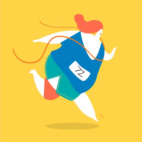 Weibliche Figur, die in die Bahnillustration läuft