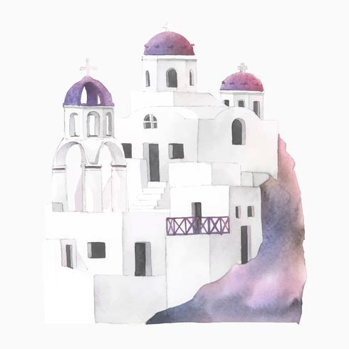 Illustration aquarelle de Santorin Cycladic Houses