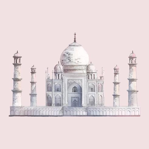 Das Taj Mahal in Agra, Indien-Aquarellillustration