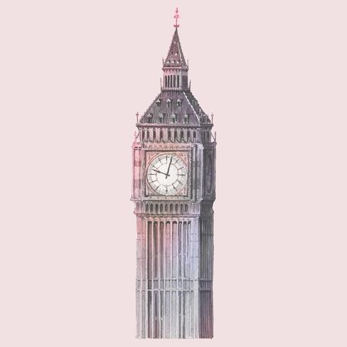 Big Ben nell'illustrazione dell'acquerello di Londra