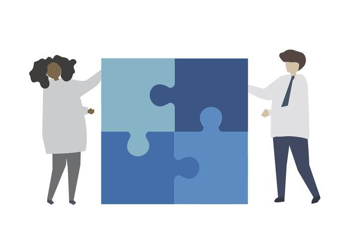 Zusammenspielendes Puzzlestück der Teamarbeit