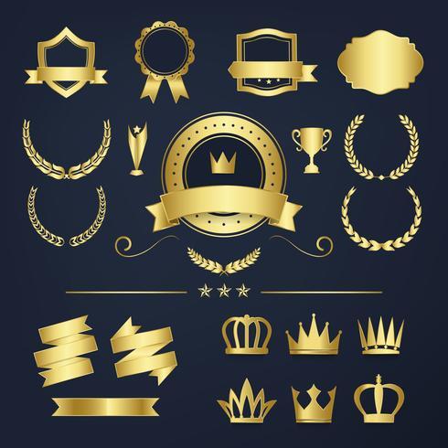 Premium kvalitet badge och banner samling vektorer