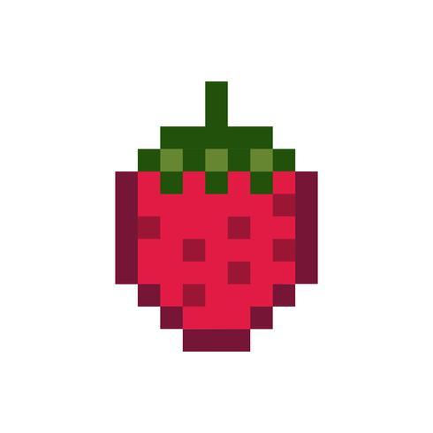 Una fragola frutta grafica pixelata