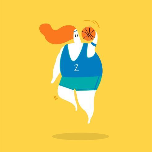 Illustrazione del personaggio di un giocatore di pallacanestro femminile