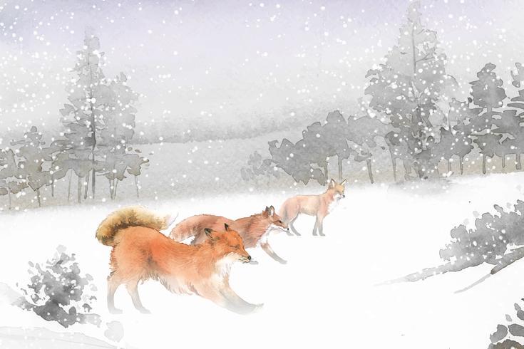 Raposas desenhadas à mão, correndo no estilo aquarela de neve