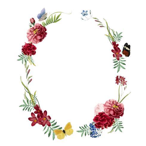 Design de cartão de convite de moldura floral