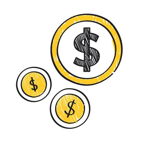Segno del dollaro sull'illustrazione delle monete