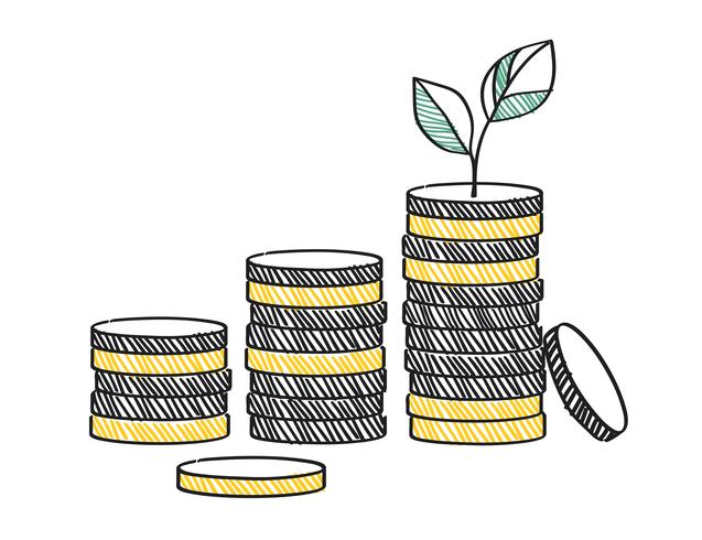 Crescita dell'illustrazione di concetto di investimento finanziario