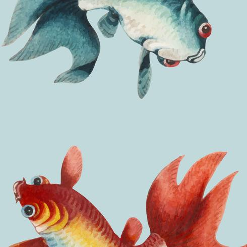 Chinese painting featuring a gold and a silver fish.