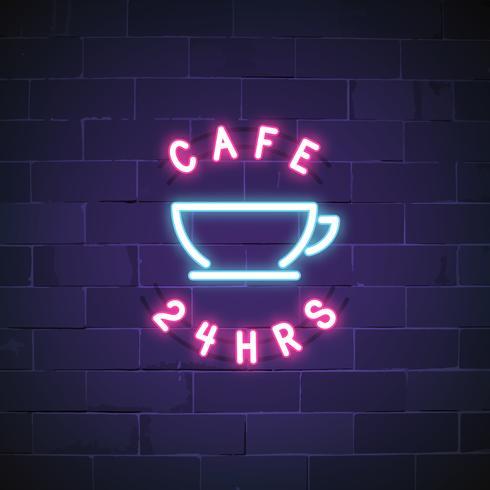 24 Stunden Caféleuchtschildvektor