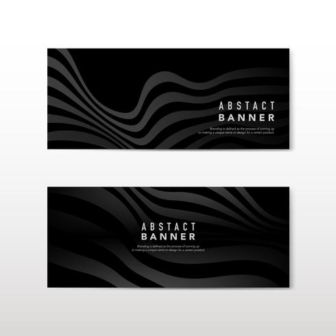 Black abstract banner design vectors