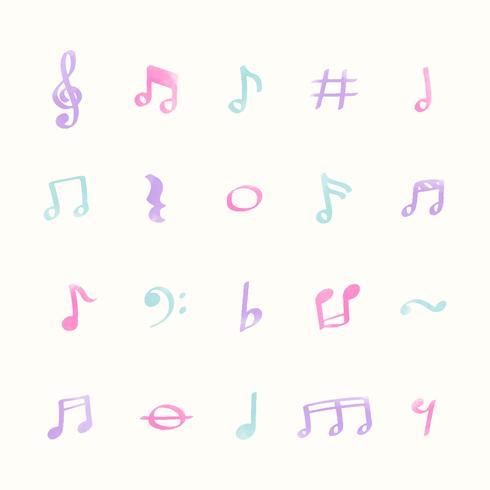 Conjunto de ilustración de los iconos de la nota de música