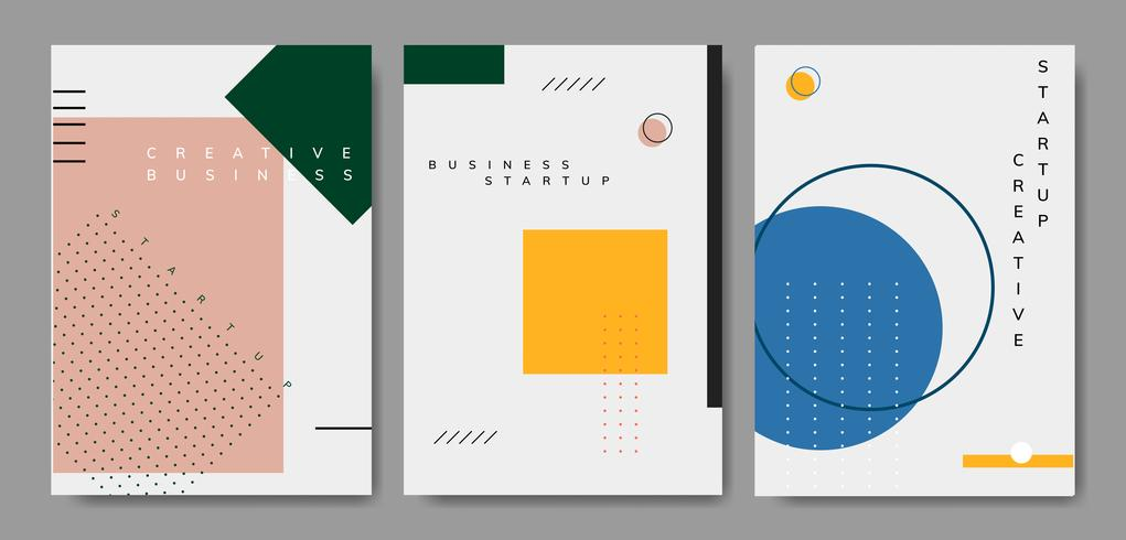 Conjunto de mínimo cartaz de design start-up de Memphis vector