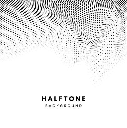 Black wavy halftone on white background vector