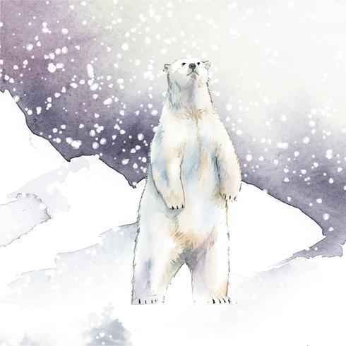 Handdragen isbjörn i snö akvarell stil vektor
