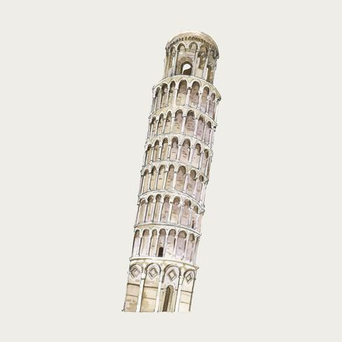 The Leaning Tower of Pisa watercolor illustration