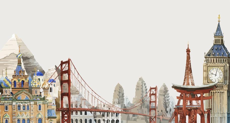 Samling av arkitektoniska landmärken runt om i världen vattenfärg illustrationen
