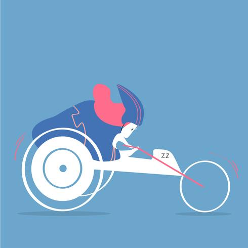 Female character handbiking illustration